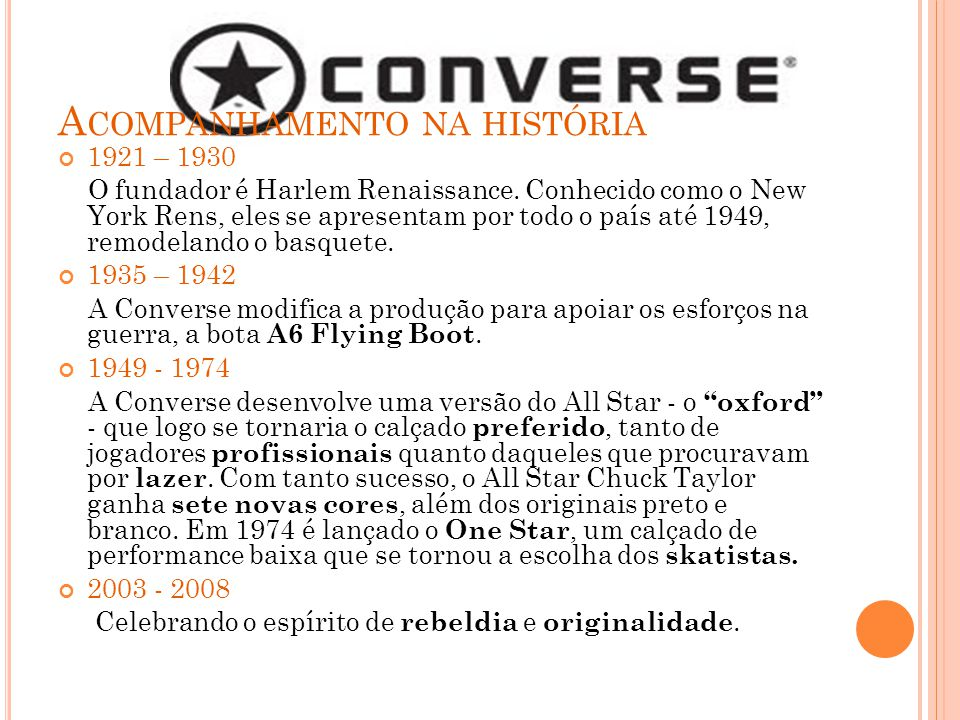 M ARCA : Converse é uma marca pela qual seu significado veio do ´´All Star``, que é um calçado com conceito Cult e underground, considerado um sinônimo de estilo de vida, que até hoje faz muito sucesso com os jovens.