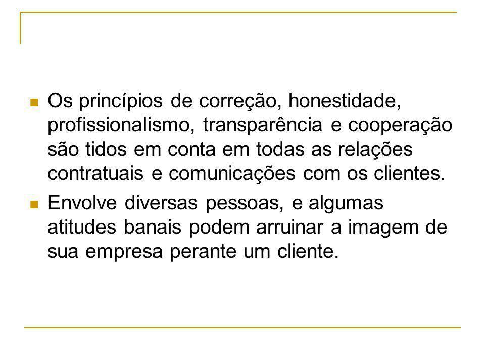 Os princípios de correção, honestidade, profissionalismo, transparência e cooperação são tidos em conta em todas as relações contratuais e comunicaçõe