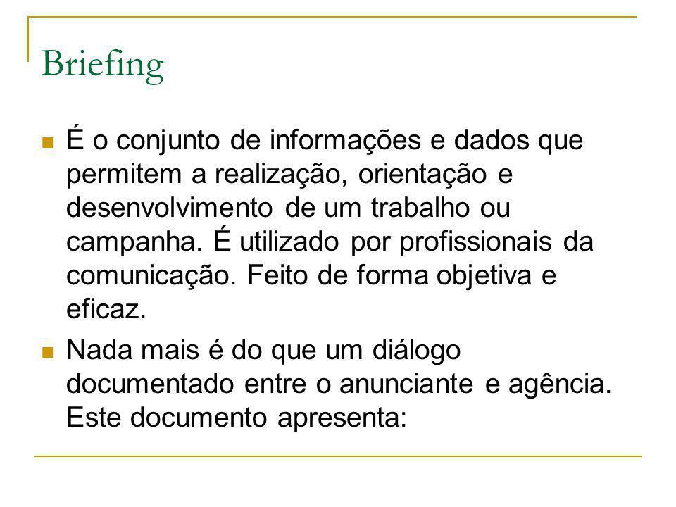 Briefing É o conjunto de informações e dados que permitem a realização, orientação e desenvolvimento de um trabalho ou campanha. É utilizado por profi