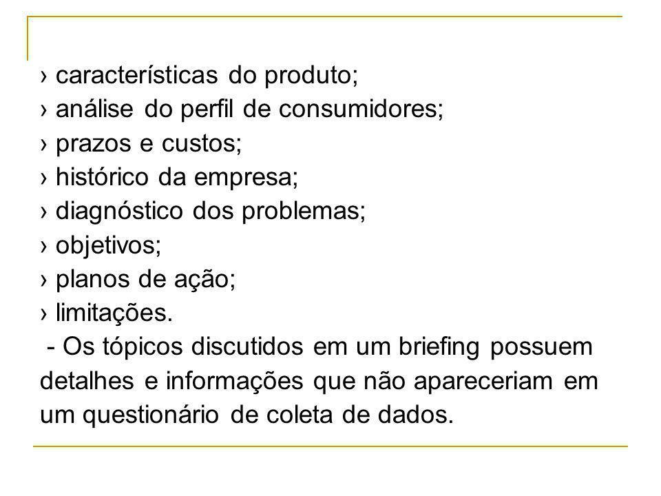 características do produto; análise do perfil de consumidores; prazos e custos; histórico da empresa; diagnóstico dos problemas; objetivos; planos de ação; limitações.
