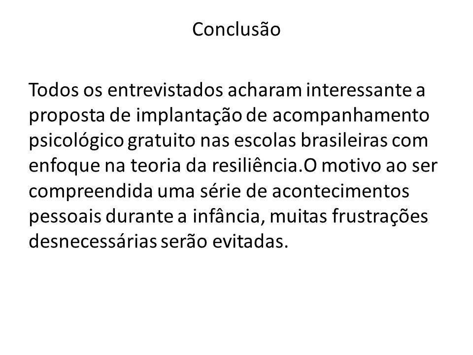 Conclusão Todos os entrevistados acharam interessante a proposta de implantação de acompanhamento psicológico gratuito nas escolas brasileiras com enf