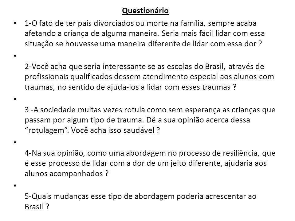 Questionário 1-O fato de ter pais divorciados ou morte na família, sempre acaba afetando a criança de alguma maneira. Seria mais fácil lidar com essa