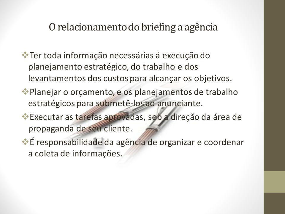 O relacionamento do briefing a agência Ter toda informação necessárias á execução do planejamento estratégico, do trabalho e dos levantamentos dos custos para alcançar os objetivos.
