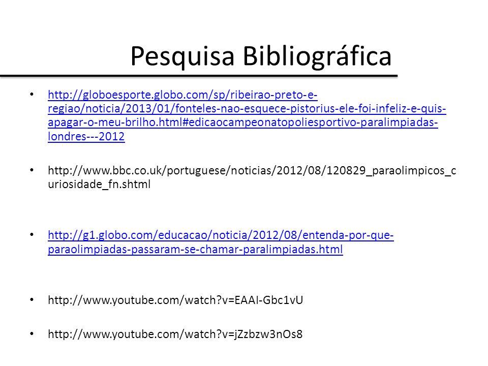 Pesquisa Bibliográfica http://globoesporte.globo.com/sp/ribeirao-preto-e- regiao/noticia/2013/01/fonteles-nao-esquece-pistorius-ele-foi-infeliz-e-quis- apagar-o-meu-brilho.html#edicaocampeonatopoliesportivo-paralimpiadas- londres---2012 http://globoesporte.globo.com/sp/ribeirao-preto-e- regiao/noticia/2013/01/fonteles-nao-esquece-pistorius-ele-foi-infeliz-e-quis- apagar-o-meu-brilho.html#edicaocampeonatopoliesportivo-paralimpiadas- londres---2012 http://www.bbc.co.uk/portuguese/noticias/2012/08/120829_paraolimpicos_c uriosidade_fn.shtml http://g1.globo.com/educacao/noticia/2012/08/entenda-por-que- paraolimpiadas-passaram-se-chamar-paralimpiadas.html http://g1.globo.com/educacao/noticia/2012/08/entenda-por-que- paraolimpiadas-passaram-se-chamar-paralimpiadas.html http://www.youtube.com/watch?v=EAAI-Gbc1vU http://www.youtube.com/watch?v=jZzbzw3nOs8