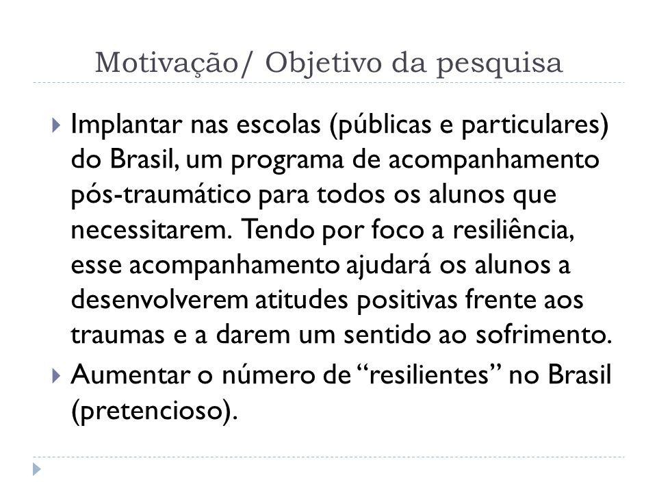 Motivação/ Objetivo da pesquisa Implantar nas escolas (públicas e particulares) do Brasil, um programa de acompanhamento pós-traumático para todos os
