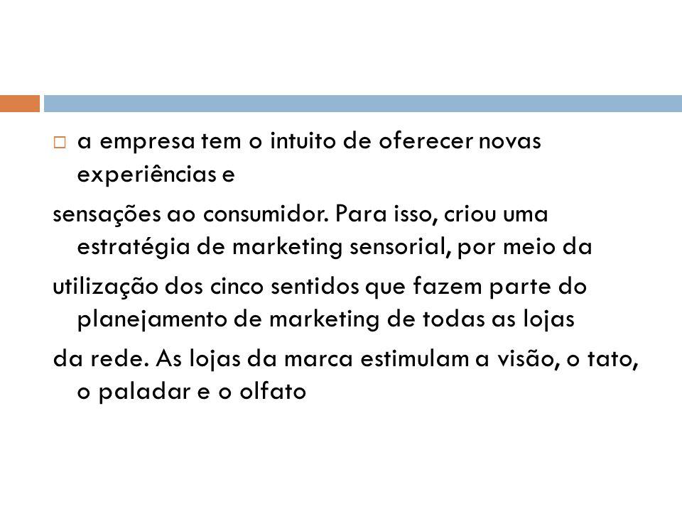 a empresa tem o intuito de oferecer novas experiências e sensações ao consumidor. Para isso, criou uma estratégia de marketing sensorial, por meio da