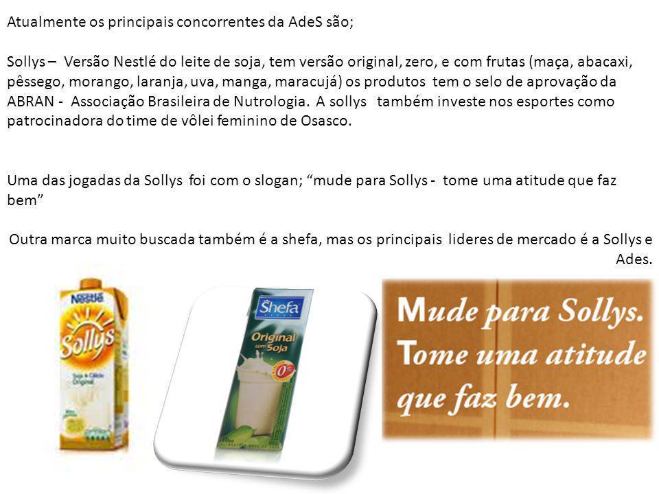 Atualmente os principais concorrentes da AdeS são; Sollys – Versão Nestlé do leite de soja, tem versão original, zero, e com frutas (maça, abacaxi, pêssego, morango, laranja, uva, manga, maracujá) os produtos tem o selo de aprovação da ABRAN - Associação Brasileira de Nutrologia.