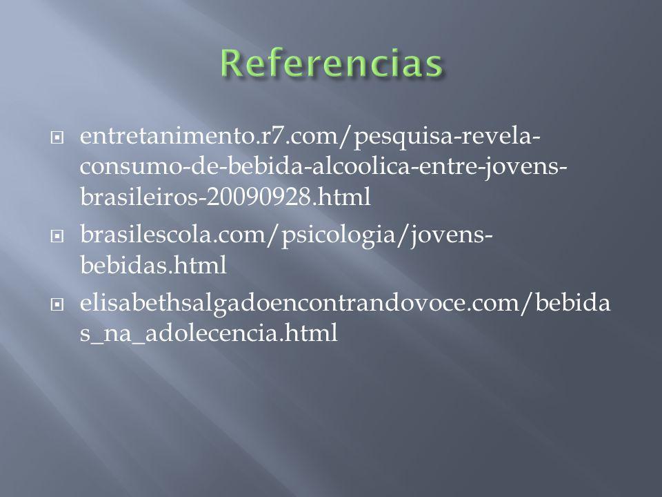 entretanimento.r7.com/pesquisa-revela- consumo-de-bebida-alcoolica-entre-jovens- brasileiros-20090928.html brasilescola.com/psicologia/jovens- bebidas.html elisabethsalgadoencontrandovoce.com/bebida s_na_adolecencia.html