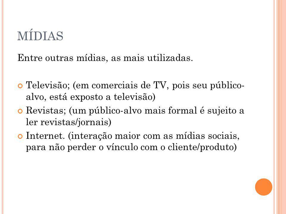 MÍDIAS Entre outras mídias, as mais utilizadas. Televisão; (em comerciais de TV, pois seu público- alvo, está exposto a televisão) Revistas; (um públi
