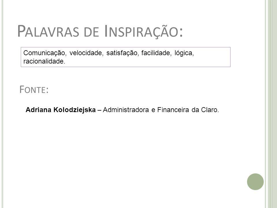 P ALAVRAS DE I NSPIRAÇÃO : Comunicação, velocidade, satisfação, facilidade, lógica, racionalidade. Adriana Kolodziejska – Administradora e Financeira