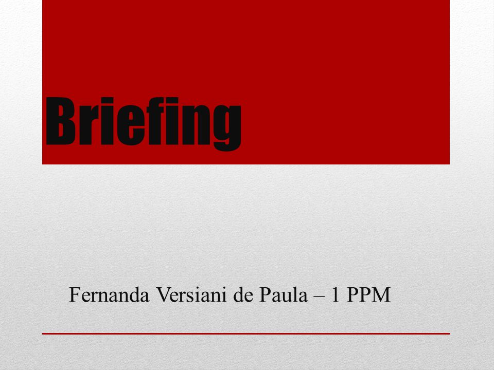 Briefing Fernanda Versiani de Paula – 1 PPM