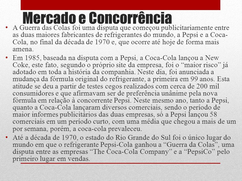 Mercado e Concorrência A Guerra das Colas foi uma disputa que começou publicitariamente entre as duas maiores fabricantes de refrigerantes do mundo, a