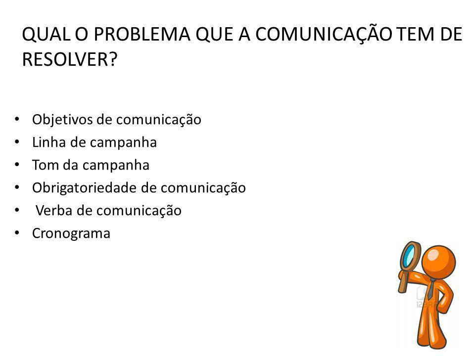 QUAL O PROBLEMA QUE A COMUNICAÇÃO TEM DE RESOLVER? Objetivos de comunicação Linha de campanha Tom da campanha Obrigatoriedade de comunicação Verba de