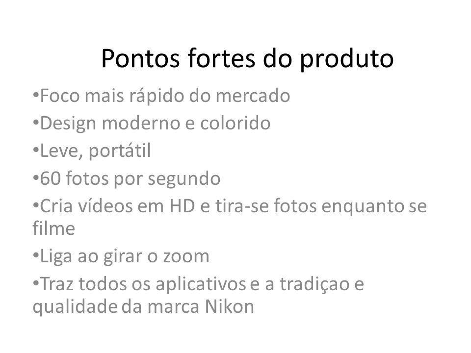 Pontos fortes do produto Foco mais rápido do mercado Design moderno e colorido Leve, portátil 60 fotos por segundo Cria vídeos em HD e tira-se fotos e