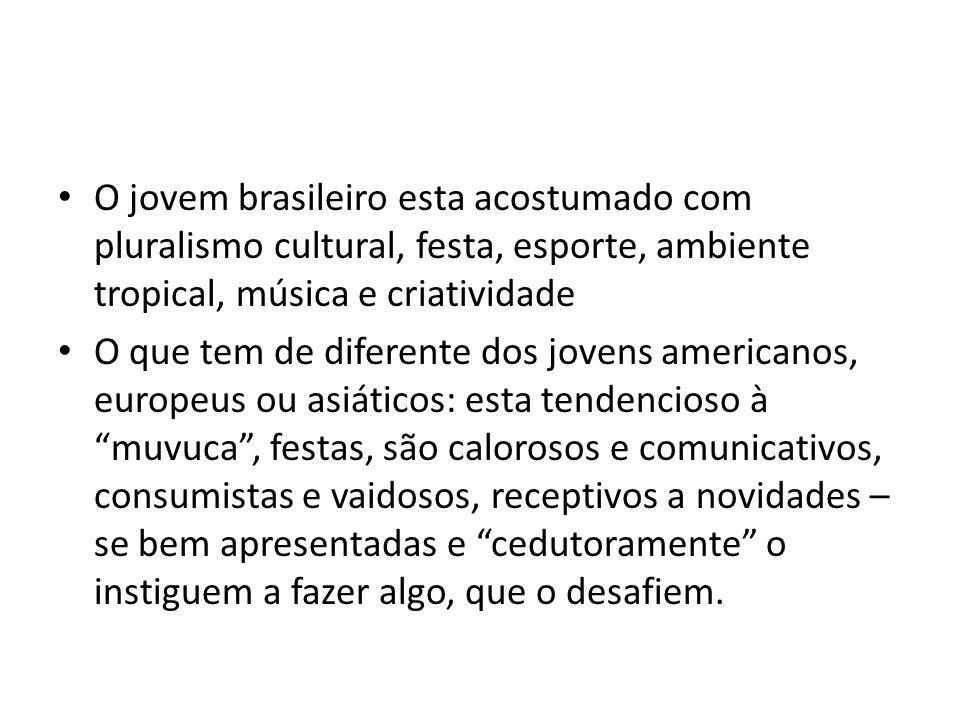 O jovem brasileiro esta acostumado com pluralismo cultural, festa, esporte, ambiente tropical, música e criatividade O que tem de diferente dos jovens