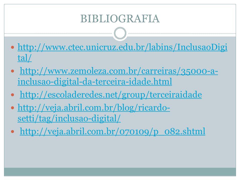 BIBLIOGRAFIA http://www.ctec.unicruz.edu.br/labins/InclusaoDigi tal/ http://www.ctec.unicruz.edu.br/labins/InclusaoDigi tal/ http://www.zemoleza.com.b