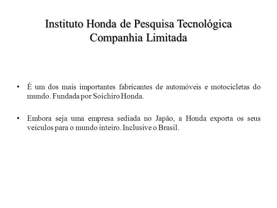 Instituto Honda de Pesquisa Tecnológica Companhia Limitada É um dos mais importantes fabricantes de automóveis e motocicletas do mundo.