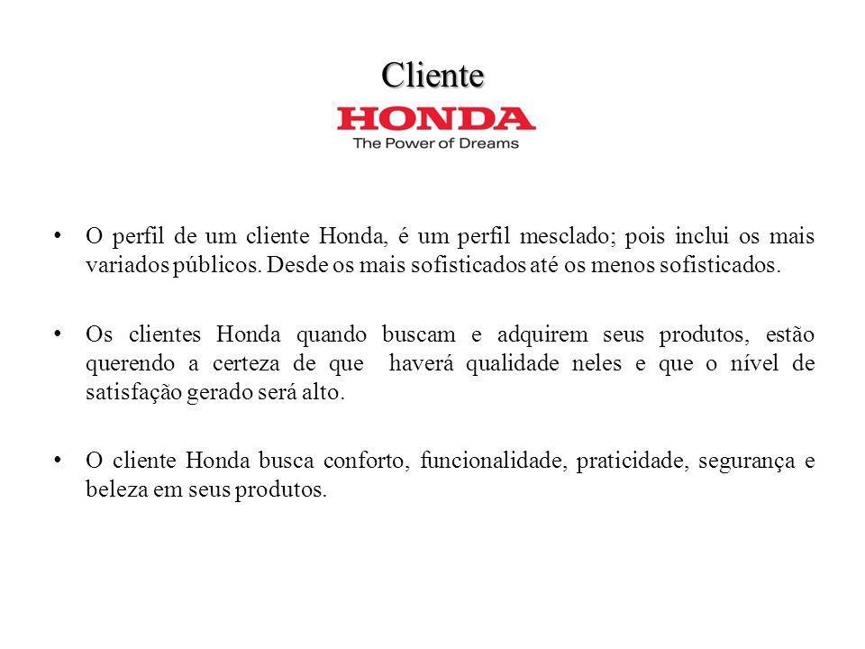 Cliente O perfil de um cliente Honda, é um perfil mesclado; pois inclui os mais variados públicos. Desde os mais sofisticados até os menos sofisticado