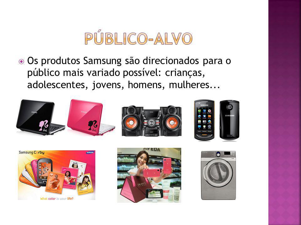Os produtos Samsung são direcionados para o público mais variado possível: crianças, adolescentes, jovens, homens, mulheres...