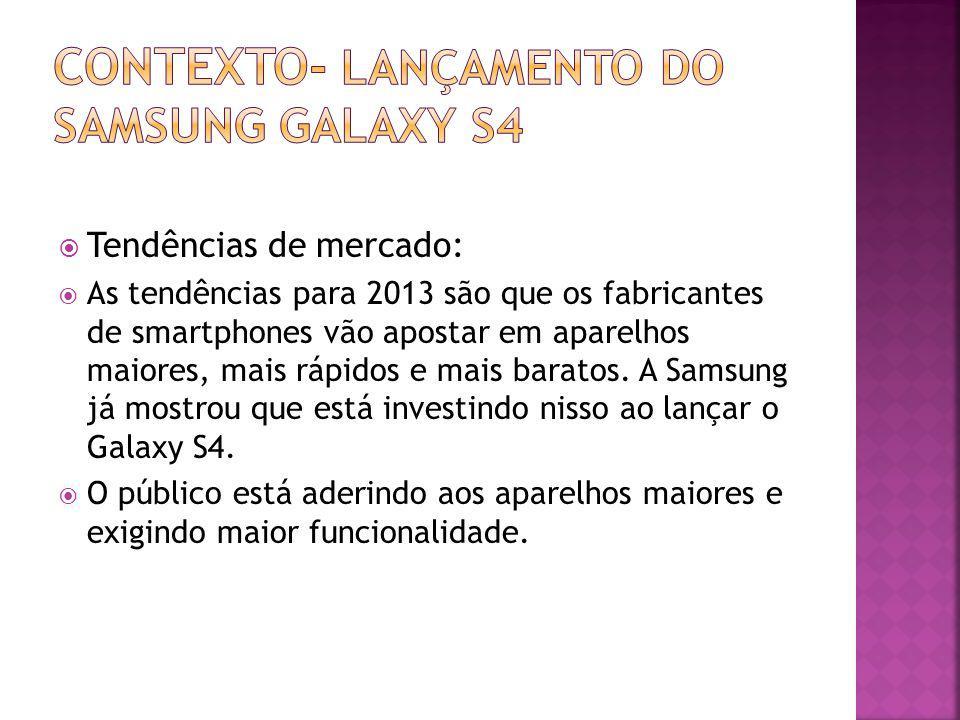 Tendências de mercado: As tendências para 2013 são que os fabricantes de smartphones vão apostar em aparelhos maiores, mais rápidos e mais baratos. A