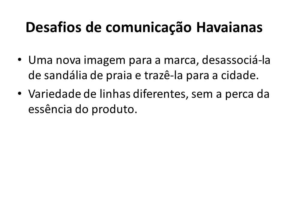 Desafios de comunicação Havaianas Uma nova imagem para a marca, desassociá-la de sandália de praia e trazê-la para a cidade. Variedade de linhas difer