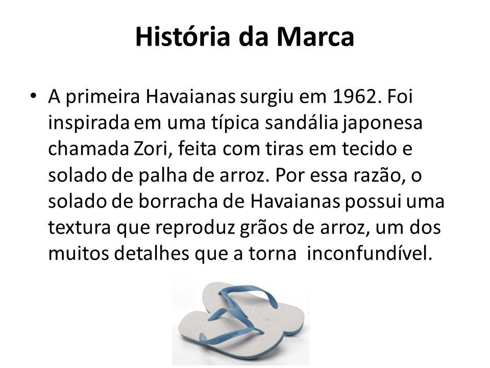História da Marca A primeira Havaianas surgiu em 1962. Foi inspirada em uma típica sandália japonesa chamada Zori, feita com tiras em tecido e solado