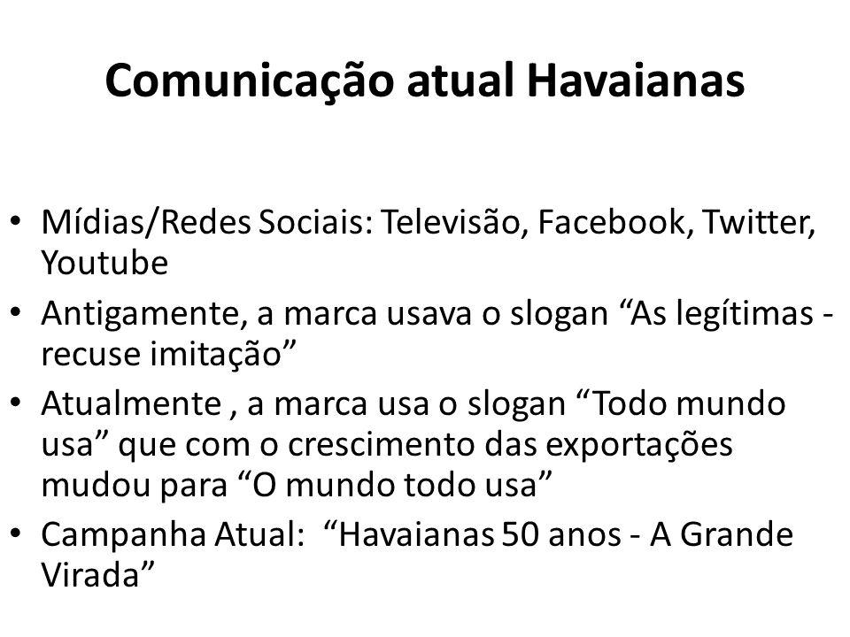 Comunicação atual Havaianas Mídias/Redes Sociais: Televisão, Facebook, Twitter, Youtube Antigamente, a marca usava o slogan As legítimas - recuse imit