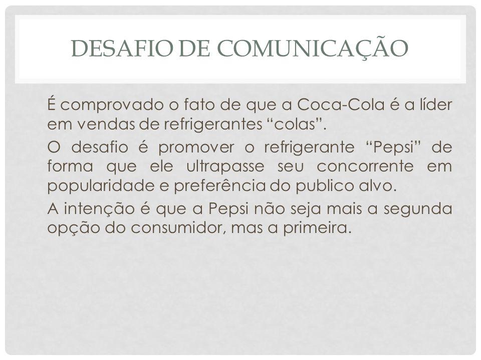 DESAFIO DE COMUNICAÇÃO É comprovado o fato de que a Coca-Cola é a líder em vendas de refrigerantes colas. O desafio é promover o refrigerante Pepsi de