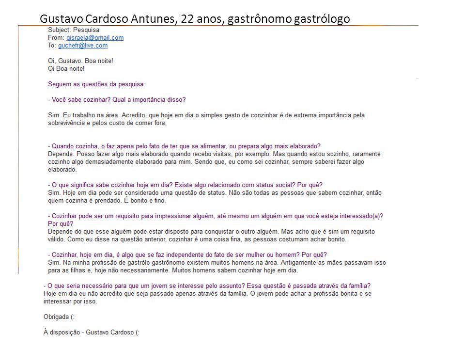 Gustavo Cardoso Antunes, 22 anos, gastrônomo gastrólogo