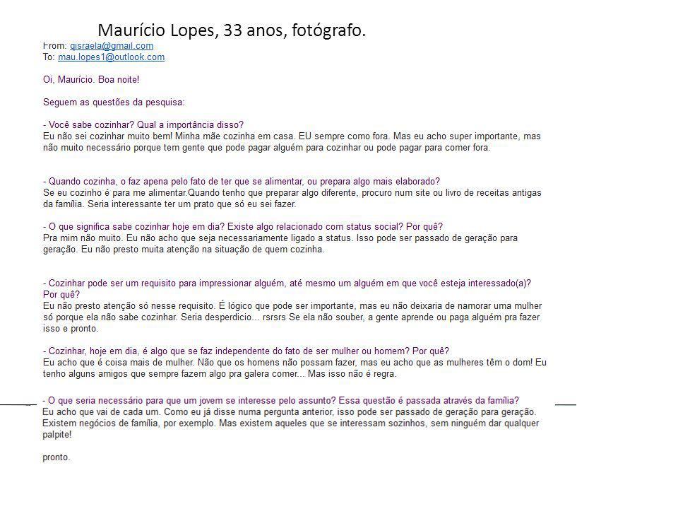 Maurício Lopes, 33 anos, fotógrafo.