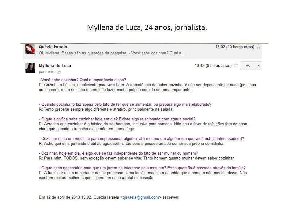 Myllena de Luca, 24 anos, jornalista.