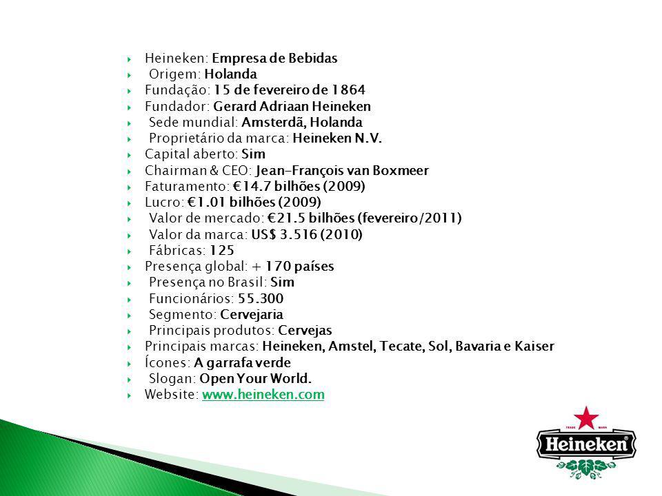 Heineken: Empresa de Bebidas Origem: Holanda Fundação: 15 de fevereiro de 1864 Fundador: Gerard Adriaan Heineken Sede mundial: Amsterdã, Holanda Propr