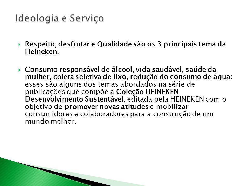Respeito, desfrutar e Qualidade são os 3 principais tema da Heineken. Consumo responsável de álcool, vida saudável, saúde da mulher, coleta seletiva d