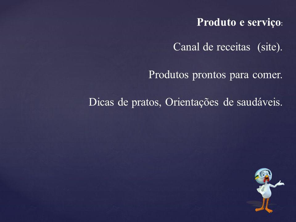 Produto e serviço : Canal de receitas (site). Produtos prontos para comer. Dicas de pratos, Orientações de saudáveis.