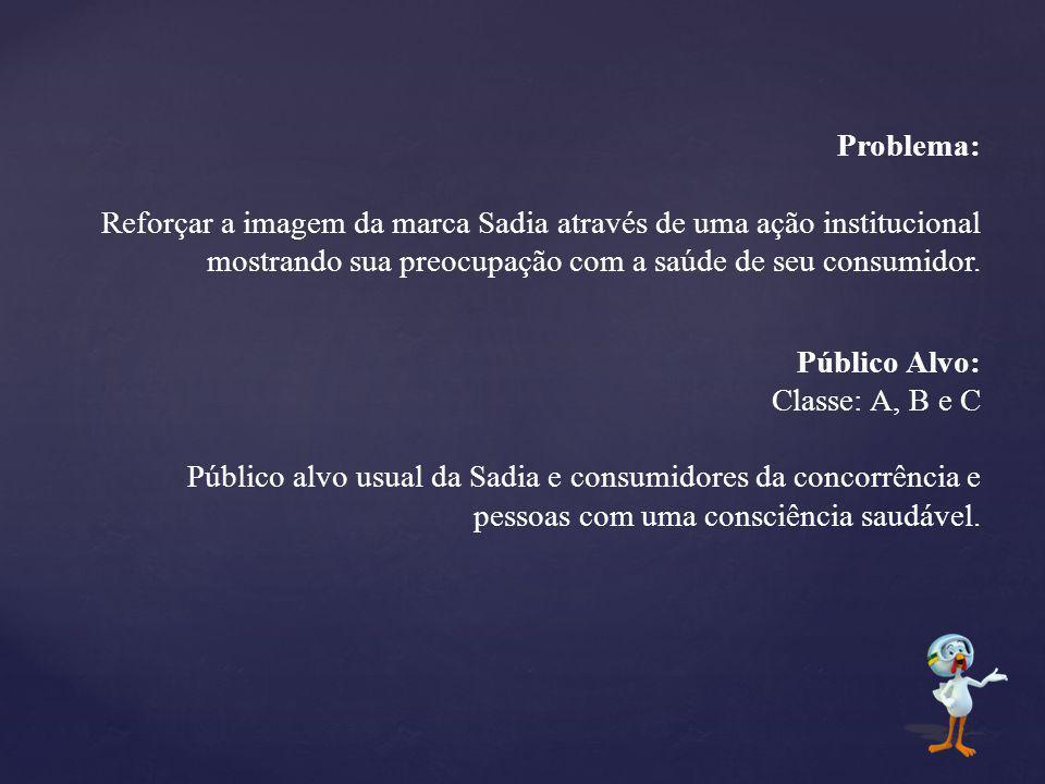 Problema: Reforçar a imagem da marca Sadia através de uma ação institucional mostrando sua preocupação com a saúde de seu consumidor. Público Alvo: Cl