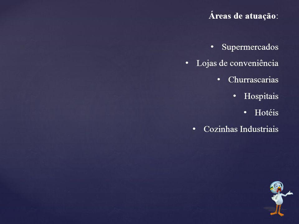 Áreas de atuação: Supermercados Lojas de conveniência Churrascarias Hospitais Hotéis Cozinhas Industriais