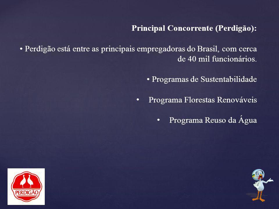 Principal Concorrente (Perdigão): Perdigão está entre as principais empregadoras do Brasil, com cerca de 40 mil funcionários. Programas de Sustentabil