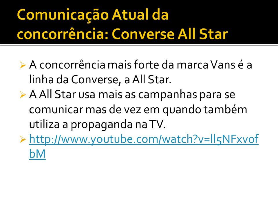 A concorrência mais forte da marca Vans é a linha da Converse, a All Star. A All Star usa mais as campanhas para se comunicar mas de vez em quando tam