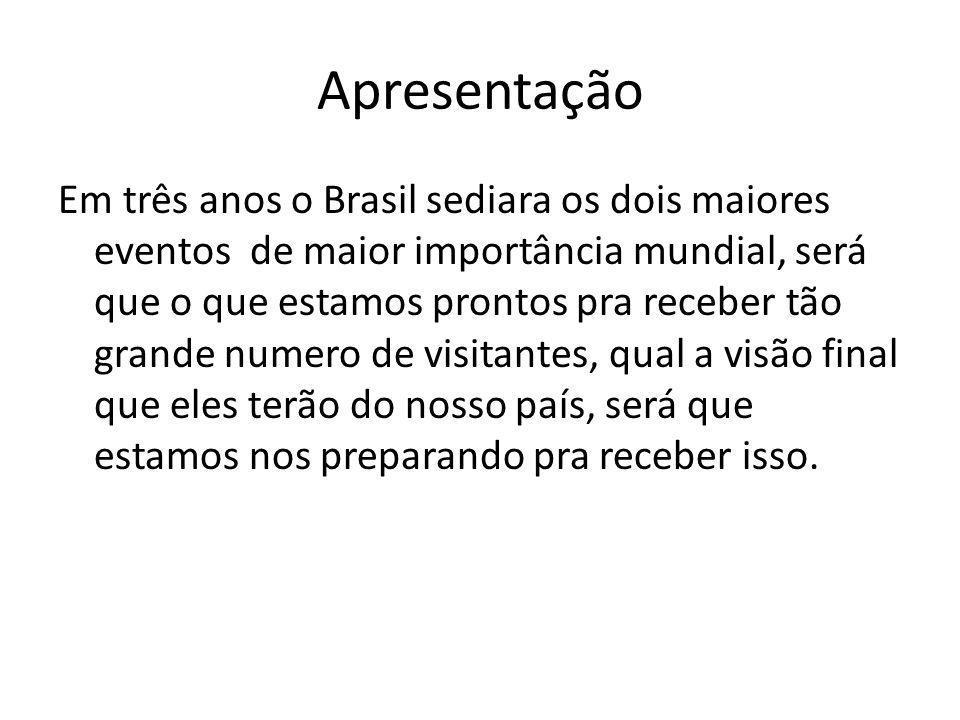 Em três anos o Brasil sediara os dois maiores eventos de maior importância mundial, será que o que estamos prontos pra receber tão grande numero de visitantes, qual a visão final que eles terão do nosso país, será que estamos nos preparando pra receber isso.