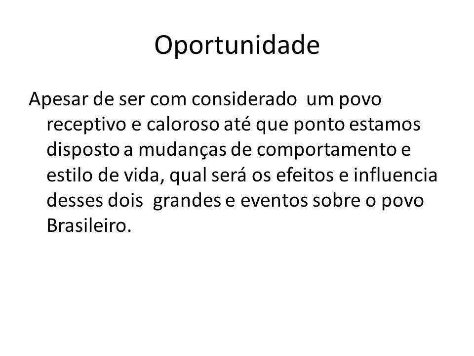 Oportunidade Apesar de ser com considerado um povo receptivo e caloroso até que ponto estamos disposto a mudanças de comportamento e estilo de vida, qual será os efeitos e influencia desses dois grandes e eventos sobre o povo Brasileiro.