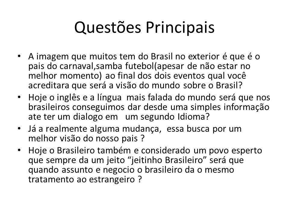 Questões Principais A imagem que muitos tem do Brasil no exterior é que é o pais do carnaval,samba futebol(apesar de não estar no melhor momento) ao final dos dois eventos qual você acreditara que será a visão do mundo sobre o Brasil.