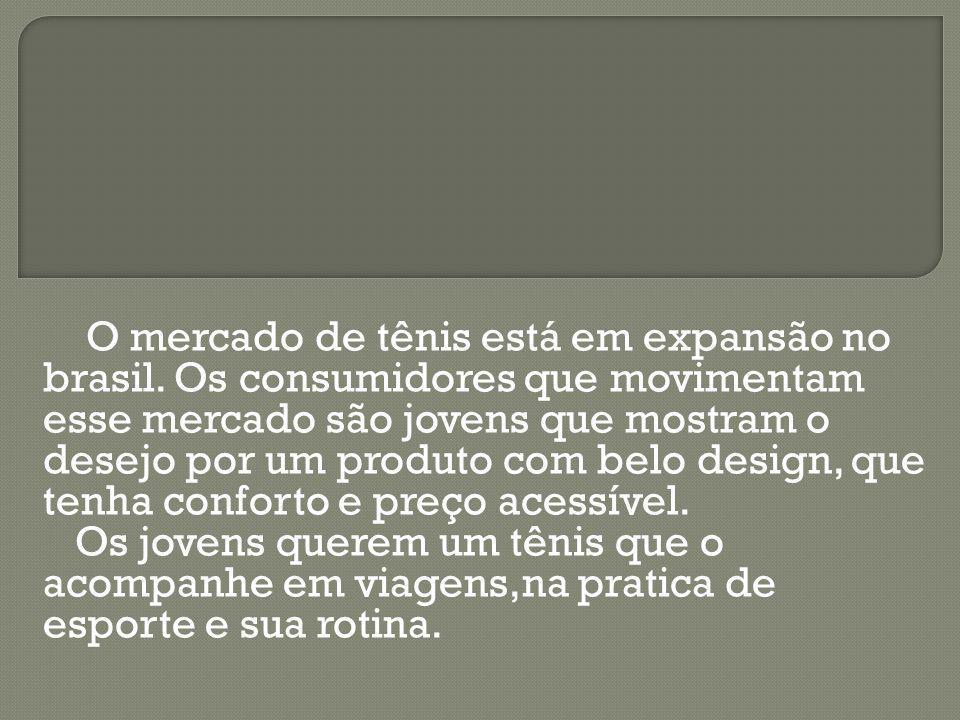 O mercado de tênis está em expansão no brasil. Os consumidores que movimentam esse mercado são jovens que mostram o desejo por um produto com belo des