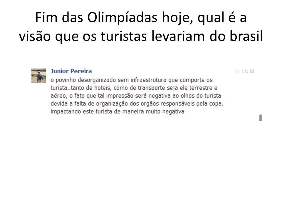 Fim das Olimpíadas hoje, qual é a visão que os turistas levariam do brasil