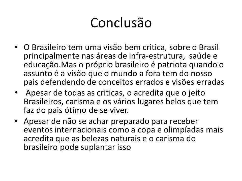 Conclusão O Brasileiro tem uma visão bem critica, sobre o Brasil principalmente nas áreas de infra-estrutura, saúde e educação.Mas o próprio brasileir