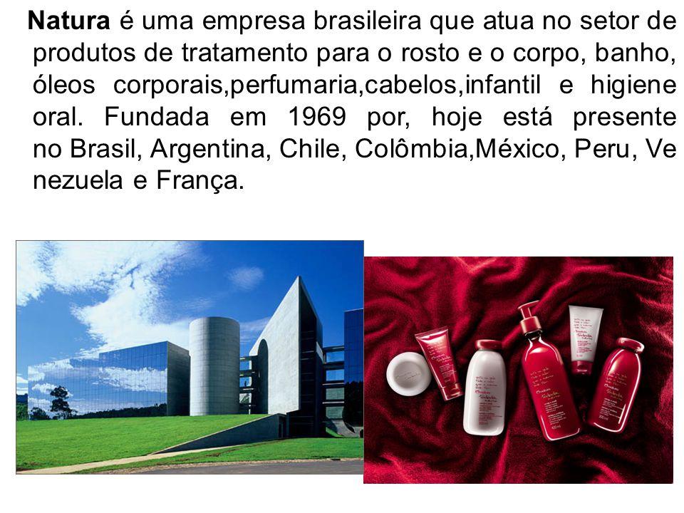 Natura é uma empresa brasileira que atua no setor de produtos de tratamento para o rosto e o corpo, banho, óleos corporais,perfumaria,cabelos,infantil