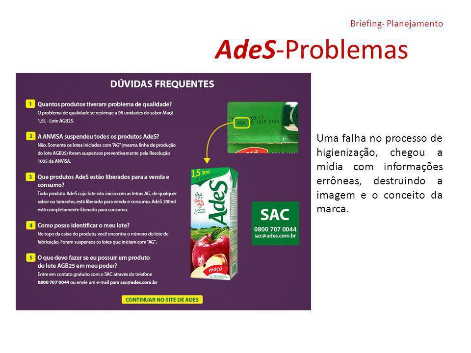 AdeS-Problemas Briefing- Planejamento Uma falha no processo de higienização, chegou a mídia com informações errôneas, destruindo a imagem e o conceito da marca.