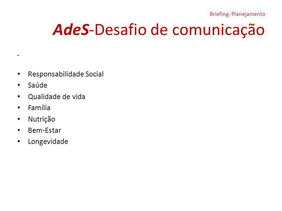 AdeS-Desafio de comunicação Briefing- Planejamento - Responsabilidade Social Saúde Qualidade de vida Família Nutrição Bem-Estar Longevidade