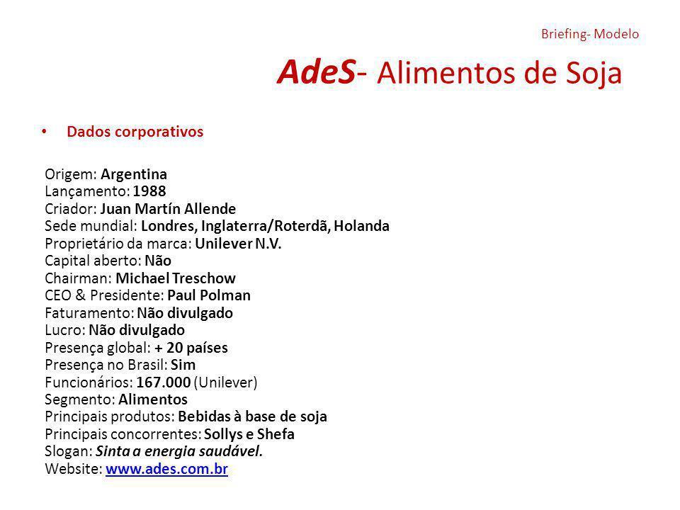 AdeS- Alimentos de Soja Dados corporativos Origem: Argentina Lançamento: 1988 Criador: Juan Martín Allende Sede mundial: Londres, Inglaterra/Roterdã, Holanda Proprietário da marca: Unilever N.V.