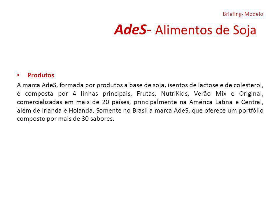 AdeS- Alimentos de Soja Produtos A marca AdeS, formada por produtos a base de soja, isentos de lactose e de colesterol, é composta por 4 linhas princi