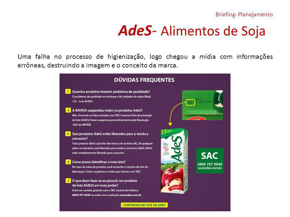 AdeS- Alimentos de Soja Uma falha no processo de higienização, logo chegou a mídia com informações errôneas, destruindo a imagem e o conceito da marca.